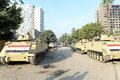 Tanks in cairo egypt army deployed amid tension Stock Photography