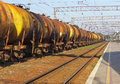 Tanks by rail cargo transportation in Stock Image