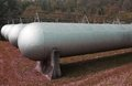 Tanks very sturdy to hold methane gas huge during the winter Royalty Free Stock Images
