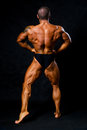 Tanned bodybuilder shows muscles of arms and back Royalty Free Stock Photo