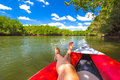 Tanned legs on kayak Royalty Free Stock Photo
