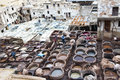 Tanneries of Fes, Marocco Royalty Free Stock Photos