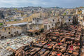 Tannery in fez morocco panorama of Royalty Free Stock Image