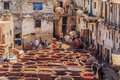 Tannery workers in Fes Morocco Royalty Free Stock Photo