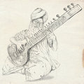 Tanpura player freehand sketch full sized orignal theme music and musicians an hand drawn illustration original version on old Stock Photography