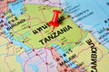 Tanzania map macro shot of with push pin Stock Image
