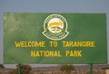 Tanzania national parks tarangire park welcome panel at the gate of the park with symbol Royalty Free Stock Photography