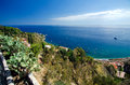 Taormina and giardini naxos beaches the mediterranean sea seen from on a beautiful summer day Stock Photography