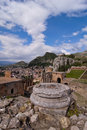 Taormina greek amphitheater in Sicily Italy Stock Photography