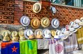 TAORMINA, ITALY - OCTOBER 1, 2017: Sun hats for sale in street Royalty Free Stock Photo