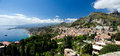 Taormina sicily panorama of on a beautiful summer day as seen from the greek theater Royalty Free Stock Photos