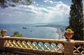 Taormina sicily view from villa communale in Royalty Free Stock Photography