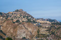 Taormina stands high on cliff overlooking Mediterranean Sea Royalty Free Stock Photo