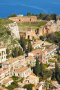 Taormina village and the mediterranean sea, sicily Stock Photography
