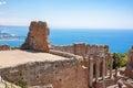 Taorminas theater und naxos Lizenzfreie Stockbilder