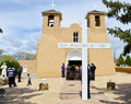 Taos new mexico april easter mass a the san francisco de asis mission church built between and on april in nm usa Royalty Free Stock Photography