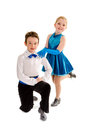 Tap dance boy and girl partners a young in recital costume Royalty Free Stock Images