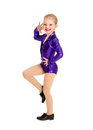 Tap dance kid in sassy recital costume a junior petite girls Royalty Free Stock Image