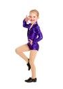 Tap dance kid in sassy recital costume a junior petite girls Royalty Free Stock Image