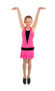 Tap dance student performance high energy dancing girl in recital costume Stock Photos
