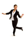 Tap dancing girl in action a smiling black costume performs a dance routine Royalty Free Stock Photo