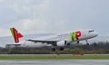 Tap portugal airbus a taking off from manchester airport Royalty Free Stock Photos