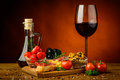 Tapas snacks and wine still life with traditional snack glass of red Royalty Free Stock Photo