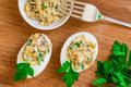 Tapas stuffed eggs with parsley Royalty Free Stock Photo