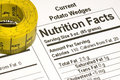 Tape Measure next to Nutrition Facts Royalty Free Stock Photography