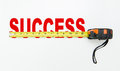 Tape measure over word of success on white background Stock Photo