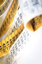 Tape measure with reapeated numbers abstract background Stock Photo