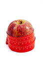 Tape measure wrapped round apple Royalty Free Stock Photo