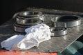Tapered roller bearings during repair macro Royalty Free Stock Image