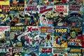 Tapestry with the marvel superhero comics - Captain America Iron Man Thor X men Royalty Free Stock Photo