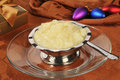 Tapioca pudding at christmas a silver dessert cup of on a dinner table Stock Images