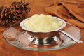 Tapioca pudding a silver dessert bowl of Stock Images