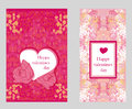Tappningstil valentine day card set Arkivbilder
