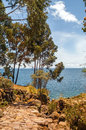 Taquille island at titicaca lake in peru Stock Photography