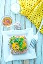 Tar tar meat with yolk on the plate Stock Photos