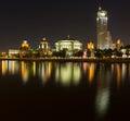 Taras Shevchenko Embankment panorama at night late May Royalty Free Stock Photo