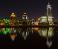 Taras shevchenko embankment panorama at night late spring in moscow Stock Photography
