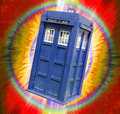 Tardis in fireball vortex photo of time lord travelling into a through space and time Royalty Free Stock Image