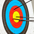 Target archery with arrow in the bullseye Stock Photography