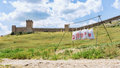 Target archery genoese fortress in crimea ukraine Stock Photo