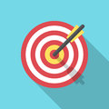 Target with an arrow flat icon concept market goal vector picture image. Concept target market, audience, group, consumer. Bullsey Royalty Free Stock Photo