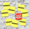 Target Audience Sticky Notes Bulletin Board Marketing Message Royalty Free Stock Photo