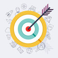 Target bullseye or arrow on target flat icon. Flat design modern Royalty Free Stock Photo