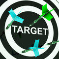 Target on dartboard shows efficient shooting or performance Stock Images