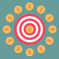 Target and dollar coins. Flat design. Stock Images