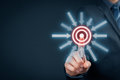 Target goal trigger marketing targeting and concepts businessman click on virtual Stock Image
